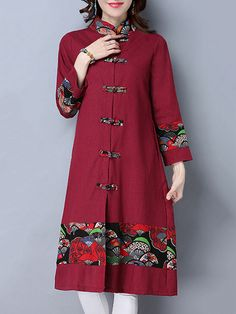 Folk Style Women Long Sleeve Printed Patchwork Frog Buttons Coat