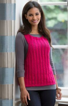 Lacy Vest to Layer Free Knitting Pattern from Red Heart Yarns