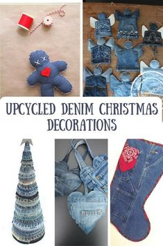 A round up of my favourite 5 upcycled denim Christmas decorations and ornaments. Tie Crafts, Jean Crafts, Save On Crafts, Denim Crafts, Diy Crafts To Sell, Fabric Crafts, Recycled Christmas Decorations, Burlap Ornaments, Recycled Crafts Kids