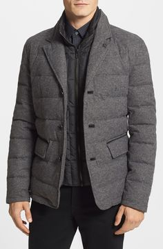 Vince Camuto Flannel Quilted Down & Feather Jacket | Nordstrom