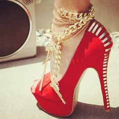 80d1a203745 Red  amp  Gold Pumps  SoO FEMME FATALE! ☠❤  ❦~HeadOverHeels