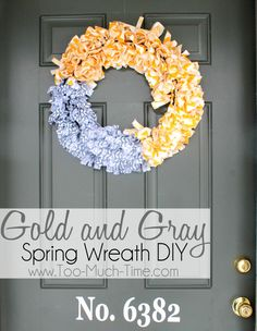 grey and yellow chevron fabric scrap wreath
