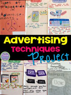 Advertising Techniques: A Project Advertising Techniques: A project idea for upper elementary and middle school students. Students define each advertising technique and then make their own sample advertisement to demonstrate their understanding of the con Media Literacy, Literacy Activities, Visual Literacy, Sommer In London, Marketing, School Advertising, Advertising Techniques, Middle School English, Middle School Health