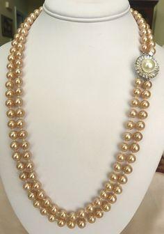 Vtg Marvella Hand Knot Glass Faux Champagne Pearl Rhinestone Big Clasp Necklace | eBay