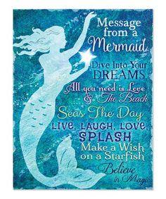 Look what I found on #zulily! Lighted Mermaid Message Canvas #zulilyfinds