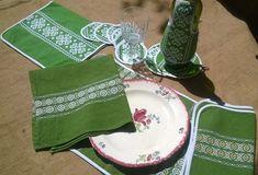 13 Vintage French Folk Linens set Green Linen White Embroidered Basque Design Place mats Napkin Coasters #sophieladydeparis