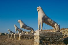 Delos island Greece: In the ancient times, the myth of god Apollo, god of light, and goddess Artemis having been born there rendered the island sacred: no mortal would ever be allowed to be born on its land.