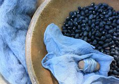 dyeing with black beans by Lisa Jordan. You just use the water you soak the beans in, so you still can cook with the beans. Results range from blues to greens.