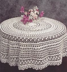 Round Tablecloth Crochet Pattern - PDF Instant Download    Vintage crochet pattern for a Round Tablecloth, finished size 50 in diameter (127cm)