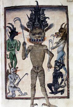 Lucifer and his companions, Livre de la Vigne nostre Seigneur, France ca. 1450-1470 (Bodleian Library, MS. Douce 134, fol. 98r)