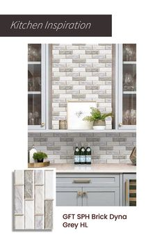 Glossy ceramics with brick like slats laid out on top of each other. A great blend of minimalism and grandeur. Get this to spruce your kitchen up to modernity. Upload your kitchen photo to trial0ok and see how this or other tiles will look in your space. #brick #wall #white #grey #tiles #kitchen #homedecor #inspiration