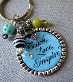 Teach Love Inspire DamaskTEACHER  Silver Pendant by buttonit, $15.00