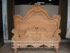 Unfinished Furniture wooden frame French mahogany bed
