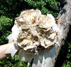 Rustic Wedding Bouquet Textured Fabric Flower Gold by artforahome, $100.00