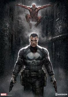 Punisher/ Daredevil Marvel Knights Sideshow Print by bigmac996