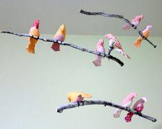 Pájaro colgante móvil - rosa / naranja / blanco aves - hecho por encargo