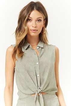 9169569d97 Sleeveless Tie-Front Shirt Basic Tops