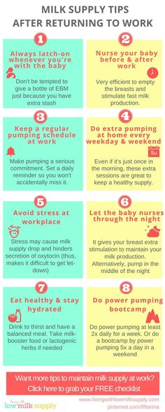 This infographics summarizes practical tips to maintain your milk supply after returning to work
