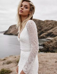 V-Neck Long Sleeve Wedding Dress, Modest Bridal Gown, Sequins and Beading. Celine by Karen Willis Holmes Luxe Collection Bridal Gowns, Wedding Gowns, Bouquet Wedding, Wedding Outfits, Wedding Nails, Wedding Reception, Karen Willis Holmes, Sexy Gown, Bridal Gallery