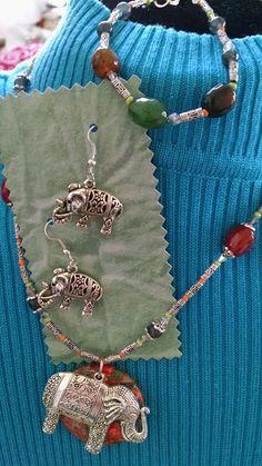 DISCOUNT Indian Elephant on Gem Pendant.  FREE by MyGrandmasHome