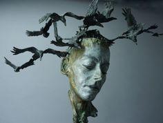 Philip Wakeham is a sculptor living and working in Lifton, Devon, UK.Philip explains his work by saying, Sculpture Head, Modern Sculpture, Bronze Sculpture, Statue, Fine Art, Gallery, Artwork, Crows, Shadows