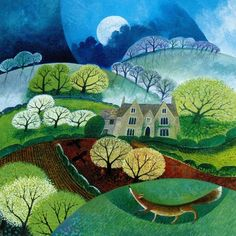 """Birthday card illustrated with a painting entitled """" Fox Manor """" by Lisa Graa Jenson"""