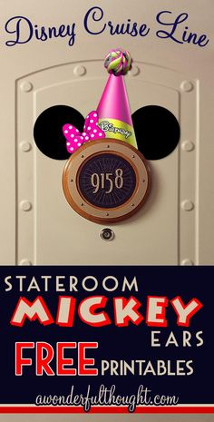 Decorate your stateroom door on Disney Cruise Line with this cute Minnie Birthday Hat Stateroom Mickey Ears!  Free to print and easy to make into a magnet for a door decoration.  Get more ears at awonderfulthought.com