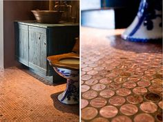 It is hip and handmade, but looks like a wonderful and luxurious flooring, cozy and restful. Learn how to make your own copper penny flooring.