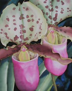 """Chorus Line"" 34 x 24 inches. Silk painting by Pamela Glose.  Visit www.MySilkArt.com to see her blog and to find out about her ebooks on silk painting."