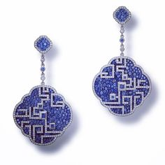 "Carnet - ""Azure Lattice"" - White diamond and blue sapphire earrings set in platinum and titanium Sapphire And Diamond Earrings, Sapphire Pendant, Sapphire Jewelry, Gemstone Earrings, Women's Earrings, Blue Sapphire, Silver Earrings, Jade Jewelry, Art Deco Jewelry"