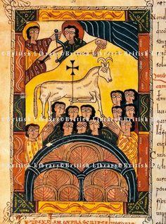 The winning lamb, miniature from Review of the Apocalypse of Saint Beatus of Liebana, manuscript folio 117 recto, Spain 10th Century.