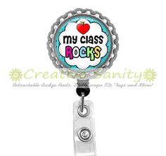 Retractable ID Badge Reel My Class Rocks Bottle by CreativeSanity, $7.50