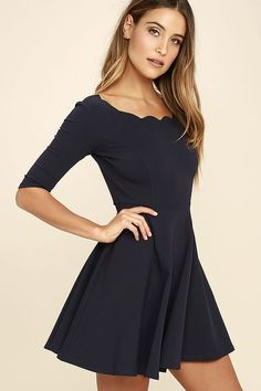 Lulus Exclusive! The Tip the Scallops Navy Blue Dress never fails to tip the scales in your favor! A fitted bodice comes with half sleeves and a unique and feminine scalloped bateau neckline that's packed with allure. Thick and super stretchy knit twirls from a banded waist into a flirty full skirt.