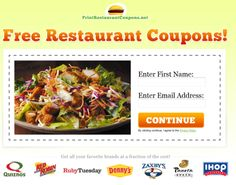 Free Restaurant Coupons - Save money at all your favorite restaurants around Nashville, TN Restaurant Coupons, Free Stuff By Mail, Fast Food Chains, Frugal Tips, Favorite Recipes, Meals, Food Coupons, Special Deals, Nashville
