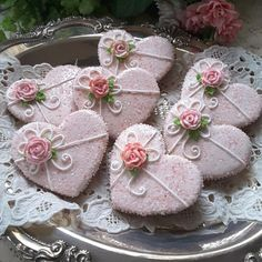 Tea party - hearts pretty in sparkling pink by Teri Pringle Wood