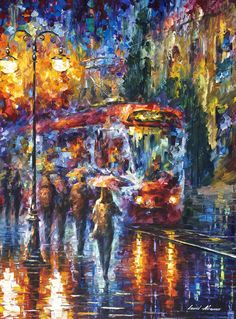 Leonid Afremov ~c.c.c~ Tram On A Rainy Night ~ website http://afremov.com ___________________________
