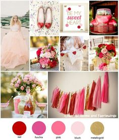 red + pink + gold wedding inspiration