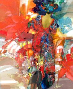 Gérard Le Nalbaut est né à Lorient en 1946. Ses œuvres nous transportent dans un pays coloré où femmes élégantes se promènent au milieu d'une végétation