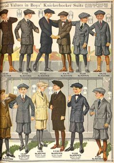 Smart boys' knickerbocker suits for a variety of budgets. From the Spring Smart boys' knickerbocker suits for a variety of budgets. From the Spring 1917 Sears catalog. Historical Costume, Historical Clothing, Edwardian Fashion, Vintage Fashion, Fashion 1920s, Unique Fashion, Anjou Velo Vintage, Style Édouardien, Patron Vintage