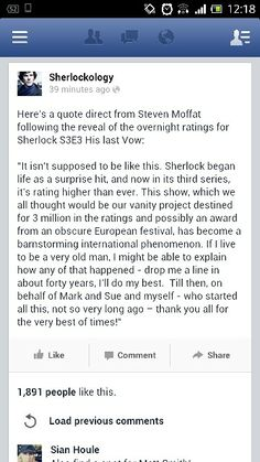 'Sherlock overnight ratings show 8.7m viewers, not counting iplayer, etc. Most watched show of the day and even better figures than Reichenbach!'