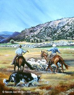 "Western Art International: Original Western Landscape Painting ""Working The Release Pen"" by Artist Nancee Jean Busse, Painter of the American West"