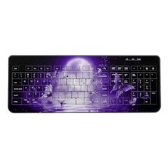 Shop Purple Moonlight Butterflies Wireless Keyboard created by BlueRose_Design. Personalize it with photos & text or purchase as is! Computer Keyboard, Customized Gifts, Moonlight, Butterflies, Vibrant Colors, Custom Design, Mice, Purple, Random Stuff