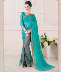 Grey & Blue Color Georgette Party Wear Sarees : Ruprani Collection YF-27431