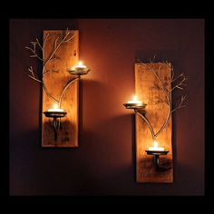 Set of two candle metal  tree sculpture  wall sconces on antique wood base for…