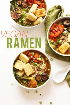 Easy Vegan Ramen via Minimalist Baker Recipe Ramen Recipes, Asian Recipes, Whole Food Recipes, Cooking Recipes, Healthy Recipes, Supper Recipes, Delicious Recipes, Low Fat Vegan Recipes, Healthy Food