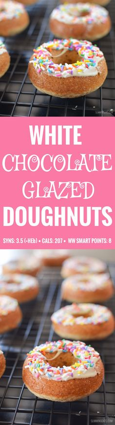 Slimming Eats White Chocolate Glazed Doughnuts - gluten free, vegetarian, Slimming World and Weight Watchers friendly