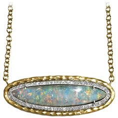 Pamela Froman Color Change Rainbow Opal Pave Diamond Gold Multilength Necklace   See more rare vintage Drop Necklaces at https://www.1stdibs.com/jewelry/necklaces/drop-necklaces