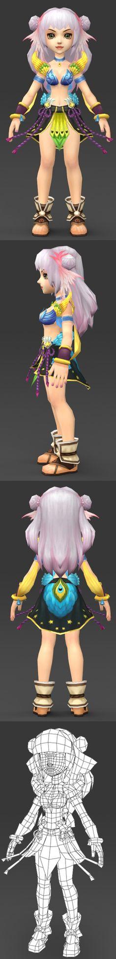 Cartoon Character Eilu 3D Model Cart_put