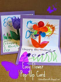 Kitchen Floor Crafts: Easy Flower Pop-Up Cards Happy Birthday Crafts, Teacher Birthday Card, Birthday Cards For Mother, Flower Birthday Cards, Homemade Birthday Cards, Kids Birthday Cards, Homemade Cards, Homemade Gifts, Diy Gifts