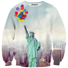 Statue blouse  #NY #baloons #hipster #full print #colorfull #statue #city #clothes